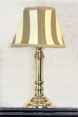 A Br Lamp With Khaki Striped Shade