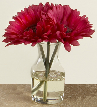 Tabledecor Gerbera Daisy Triple In Vase Fuschia
