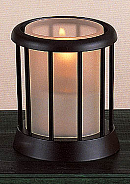 TableDecor Black Candleholder Table Lamp With Frosted Glass Insert - Restaurant candle holders for table
