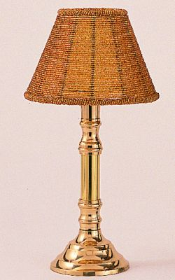 Br Lamp With Gold Beaded Shade