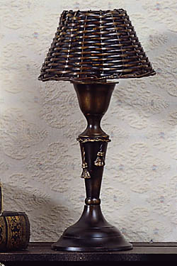 Bronze Mini Lamp with Bronze Metal Wicker  Shade