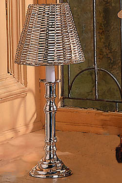 Silver Electric Lamp with candelabra bulb