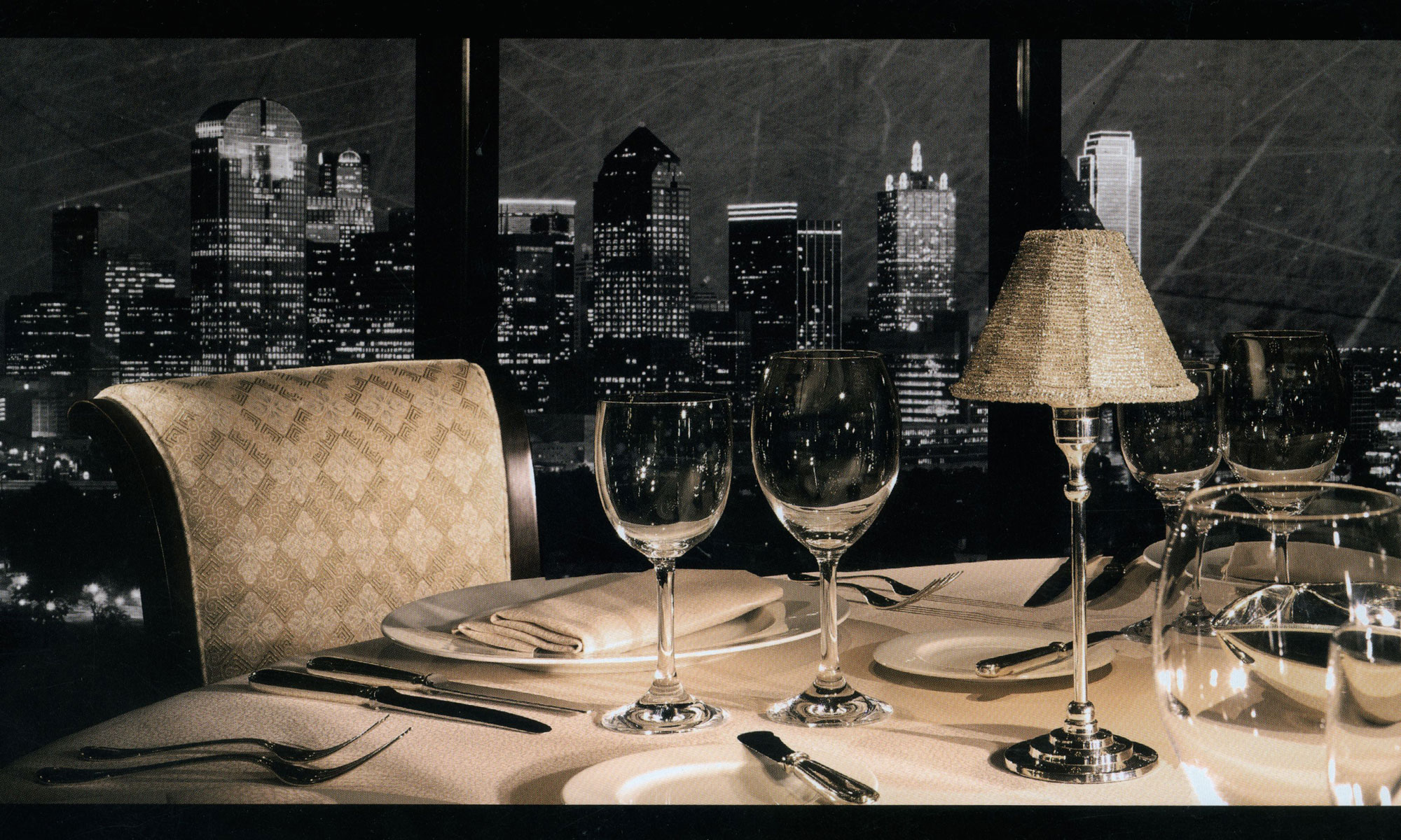 Fancy restaurant table setting - Dallas Skyline At The Anatole